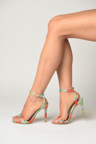 Sandale na štiklu S7505 cvetni dezen