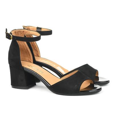Sandale sa kožnom tabanicom 9-834 crne