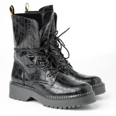 Ženske poluduboke čizme LH051722 crne kroko