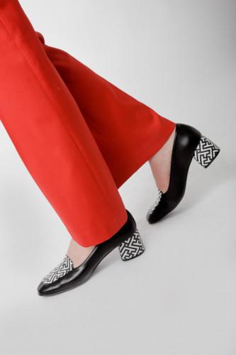 Cipele sa kožnom postavom N-131/17 crno/bela