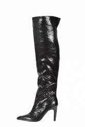Čizme preko kolena na štiklu LX562031 crne
