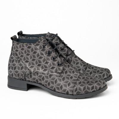 Kožne duboke cipele 2-901 sive