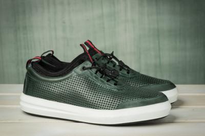 Kožne muške cipele / patike N40351 tamno zelene