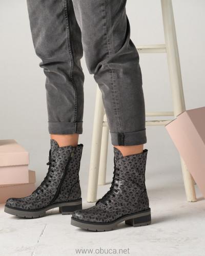 Kožne poluduboke čizme A9-29 crno/sive