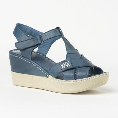 Kožne sandale na ortoped petu 1080 plave
