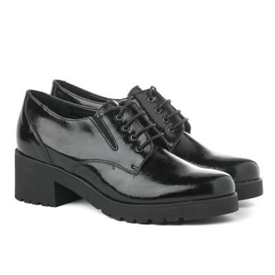 Kožne ženske cipele 655005 crna/sjaj