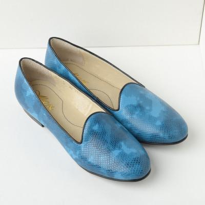 Kožne ženske ravne cipele B30/23 plave