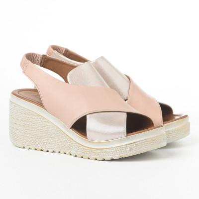 Kožne ženske sandale 9008-86139 puder roze