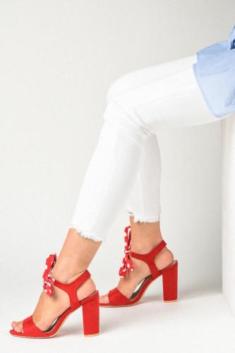 Sandale na štiklu LS391903 crvene