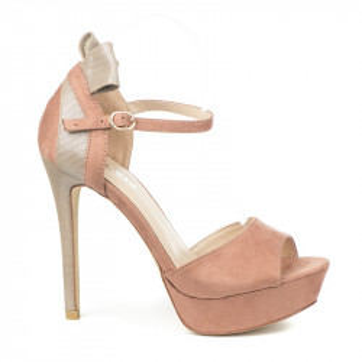 Sandale na štiklu S8308 puder roze