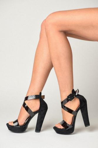 Sandale na štiklu S8510 crne