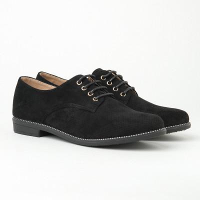 Ženske cipele na pertlanje L055603 crne