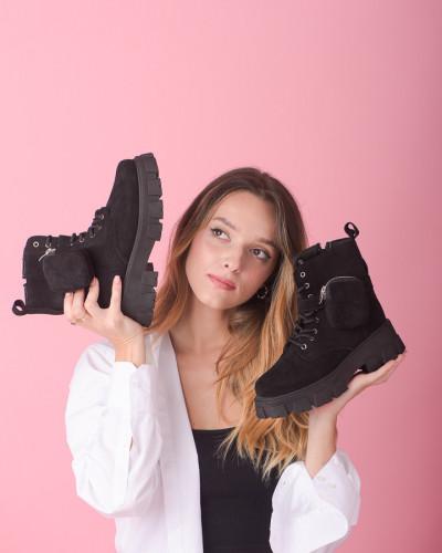 Ženske glomazne čizme B64 crne