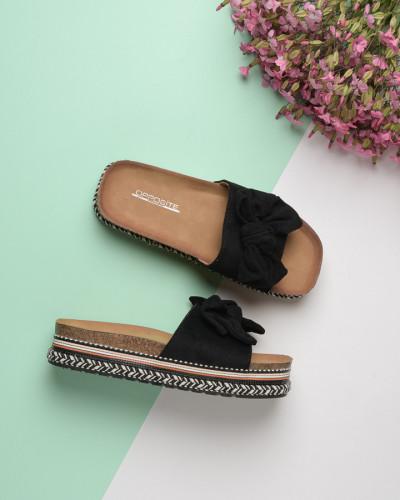 Ženske papuče na debelom đonu LP055602 crne