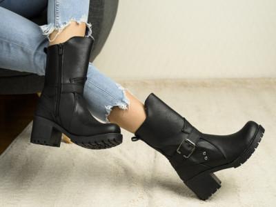 Ženske poluduboke čizme 5039 crne