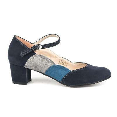 Cipele sa kožnom postavom 14-964 teget