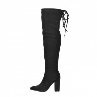 Čizme preko kolena na štiklu LX562003 crne