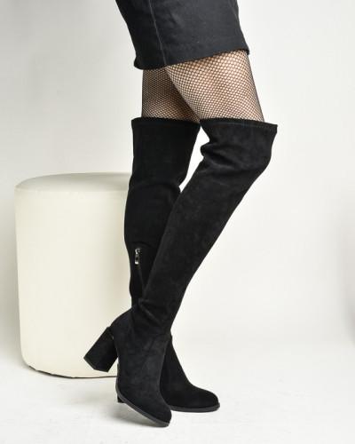 Čizme preko kolena na stiklu XJ1130-HY1696-1 crne