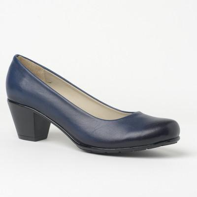 Kožne cipele na malu štiklu 700 teget