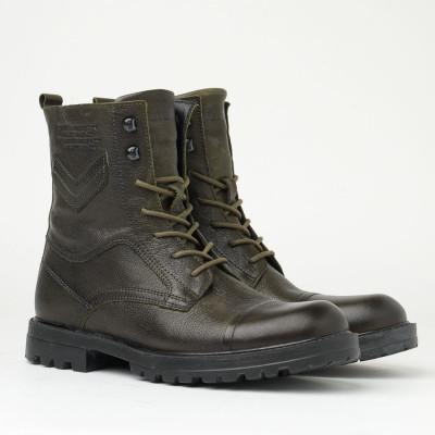 Kožne muške duboke cipele 51556 maslinaste