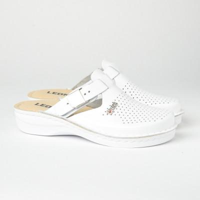Kožne papuče/klompe V260 bele