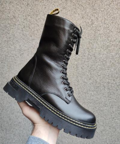 Kožne poluduboke čizme Y3368/R071 crne