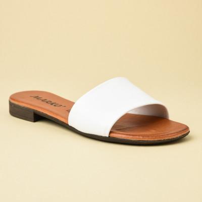 Kožne ravne papuče 225115 bele