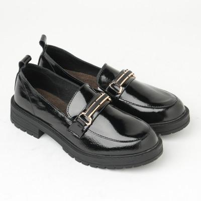 Kožne ženske cipele na debelom đonu 2171 crne