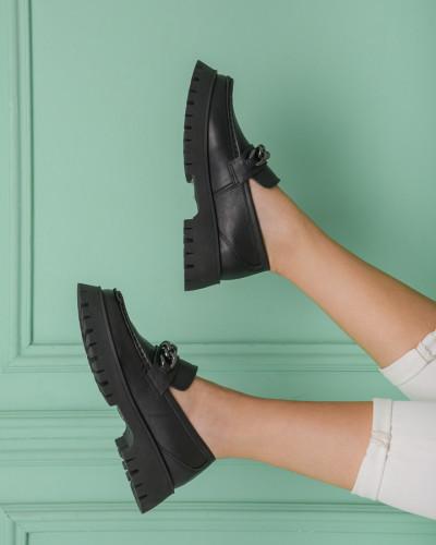 Kožne ženske cipele na debelom đonu ES202652-01 crne