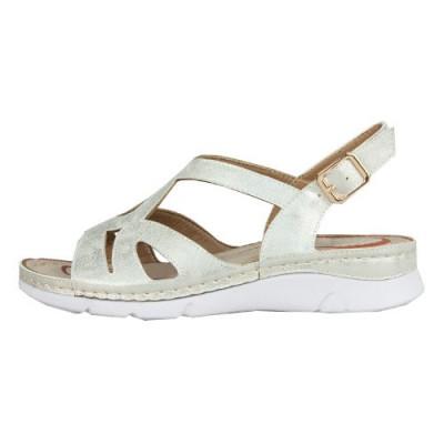 Ravne sandale F77 srebrne