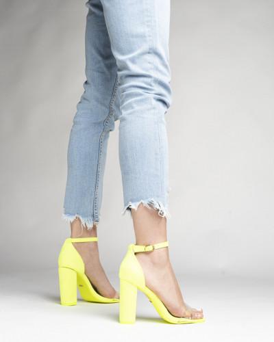 Sandale na štiklu LS242038 neon žute