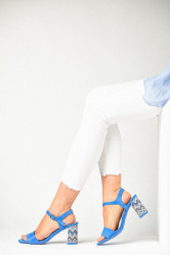 Sandale na štiklu LS381900 plave
