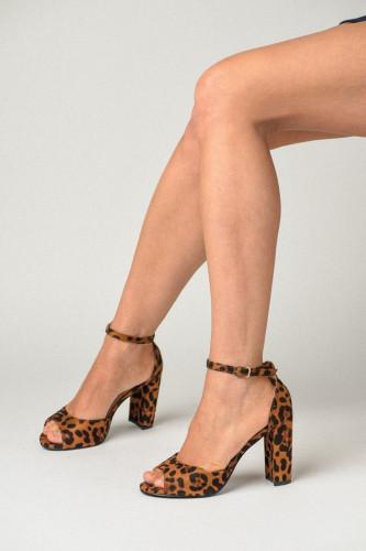 Sandale na štiklu S2511 leopard