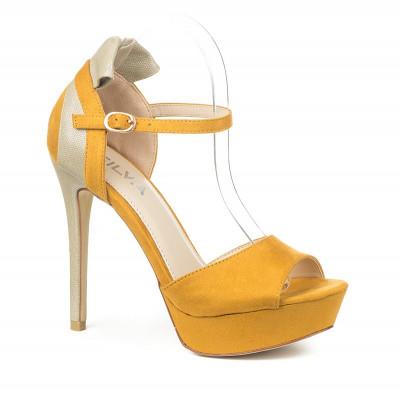 Sandale na štiklu S8308 žute