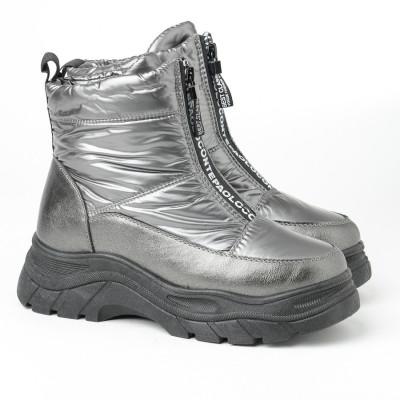 Ženske postavljene čizme A411 srebrne