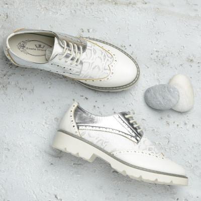 Cipele oksfordice C2110 belo srebrne