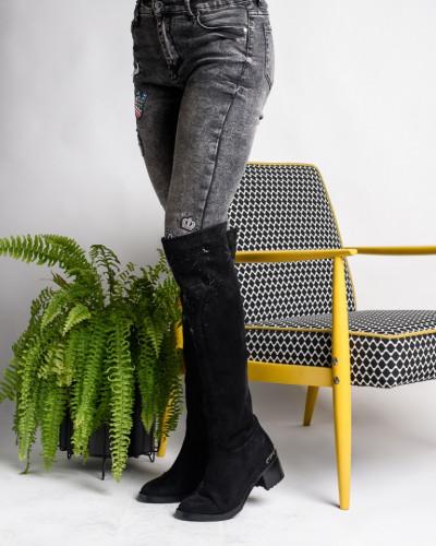Čizme preko kolena na stiklu SC024 crne