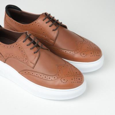 Kožne muške cipele sa debelim đonom 205103-1 kamel