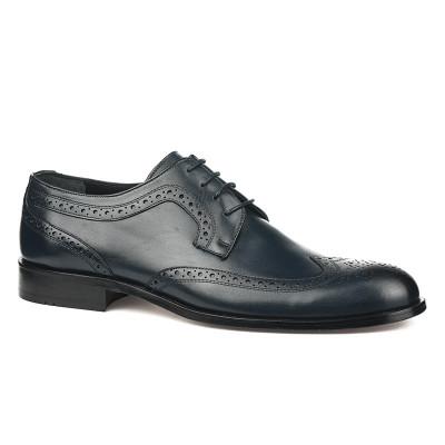 Kožne muške cipele sa kožnim đonom 837 teget