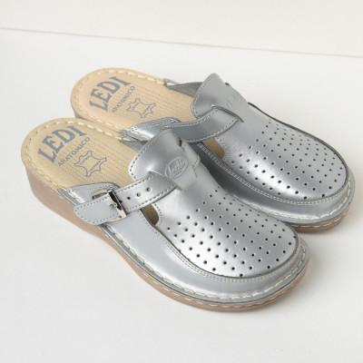 Kožne papuče 635 srebrne
