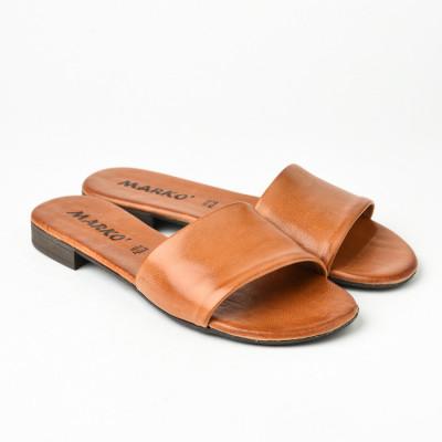 Kožne ravne papuče 225115 kamel