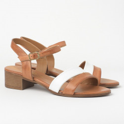 Kožne sandale na malu štiklu 243025 kamel/bela