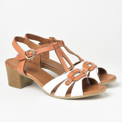 Kožne sandale na štiklu 106 bele