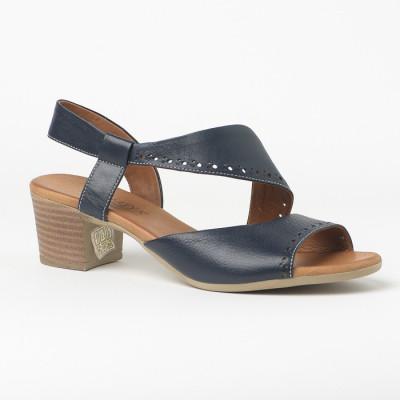Kožne sandale na štiklu 816 teget