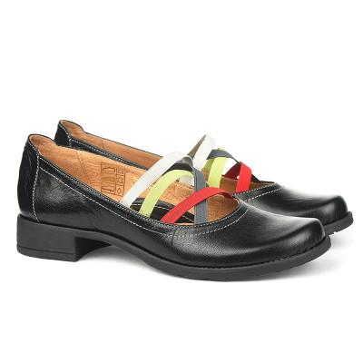 Kožne ženske cipele 2-961 crne