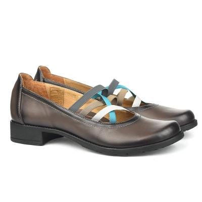 Kožne ženske cipele 2-961 sive