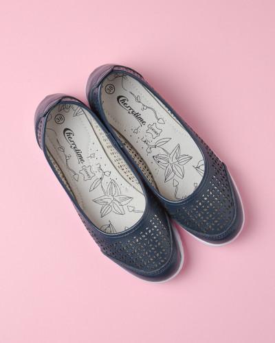 Kožne ženske cipele 2139 teget