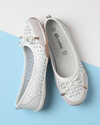 Kožne ženske cipele 819 bele