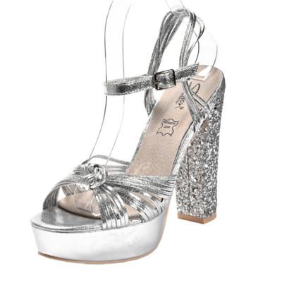Sandale na štiklu LS39807 srebrne
