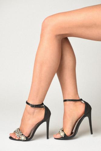 Sandale na štiklu S19503 crne